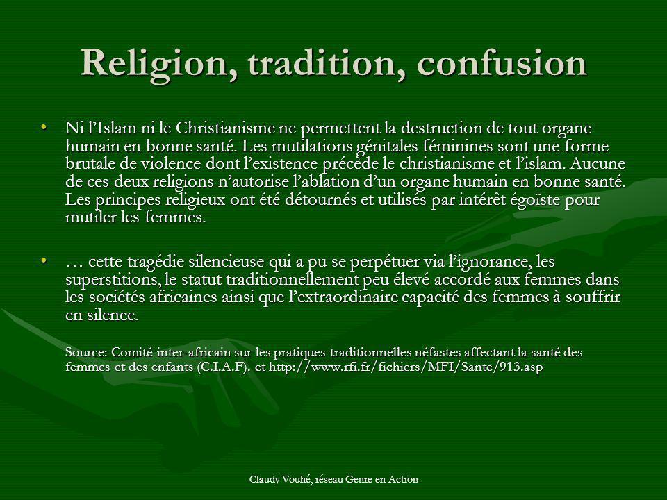 Claudy Vouhé, réseau Genre en Action Religion, tradition, confusion Ni lIslam ni le Christianisme ne permettent la destruction de tout organe humain e
