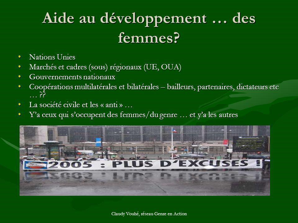 Claudy Vouhé, réseau Genre en Action Aide au développement … des femmes? Nations UniesNations Unies Marchés et cadres (sous) régionaux (UE, OUA)Marché