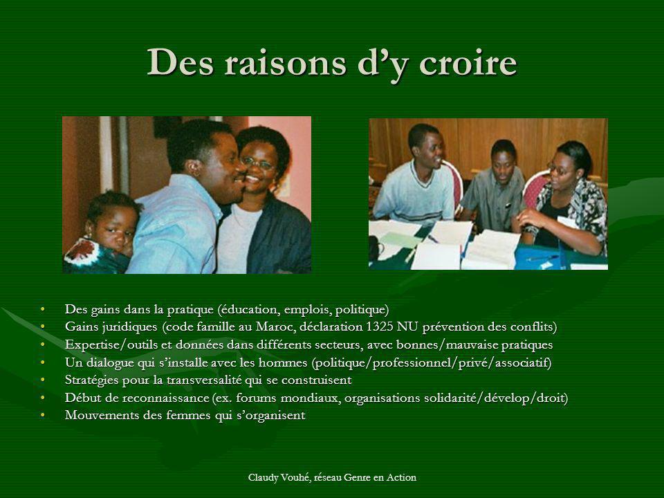 Claudy Vouhé, réseau Genre en Action Des raisons dy croire Des gains dans la pratique (éducation, emplois, politique) Gains juridiques (code famille a