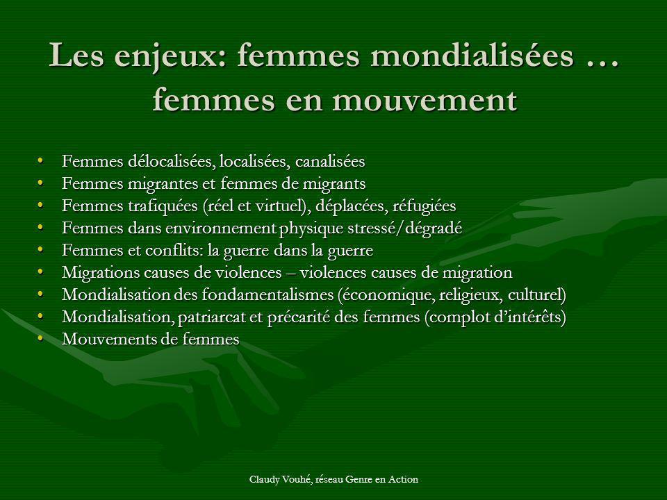 Claudy Vouhé, réseau Genre en Action Les enjeux: femmes mondialisées … femmes en mouvement Femmes délocalisées, localisées, canaliséesFemmes délocalis