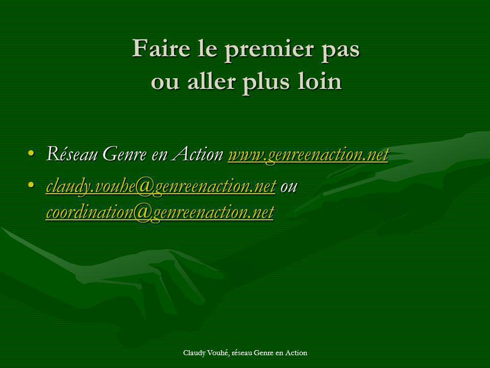 Claudy Vouhé, réseau Genre en Action Faire le premier pas ou aller plus loin Réseau Genre en Action www.genreenaction.netRéseau Genre en Action www.ge