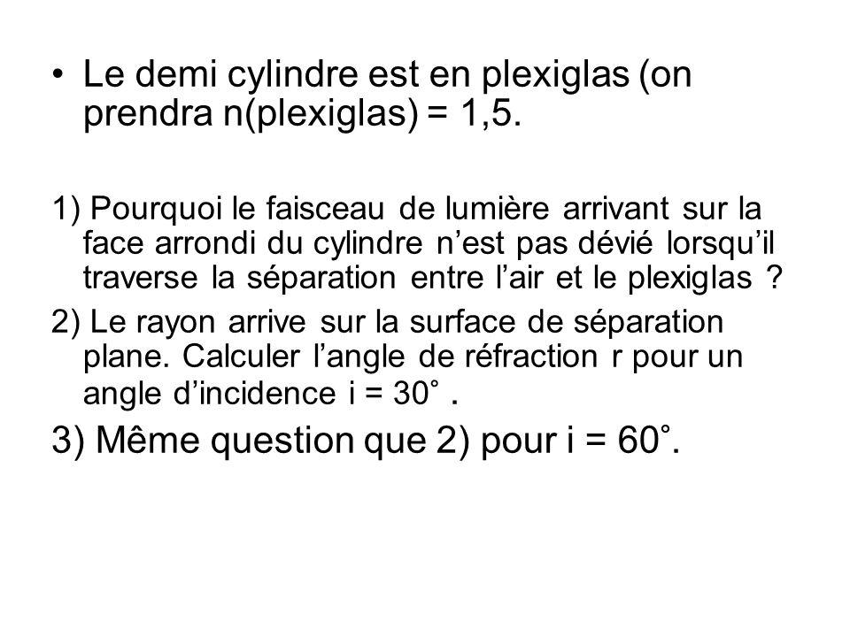Le demi cylindre est en plexiglas (on prendra n(plexiglas) = 1,5. 1) Pourquoi le faisceau de lumière arrivant sur la face arrondi du cylindre nest pas
