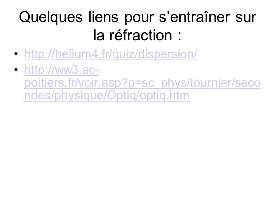 Quelques liens pour sentraîner sur la réfraction : http://helium4.fr/quiz/dispersion/ http://ww3.ac- poitiers.fr/voir.asp?p=sc_phys/tournier/seco ndes