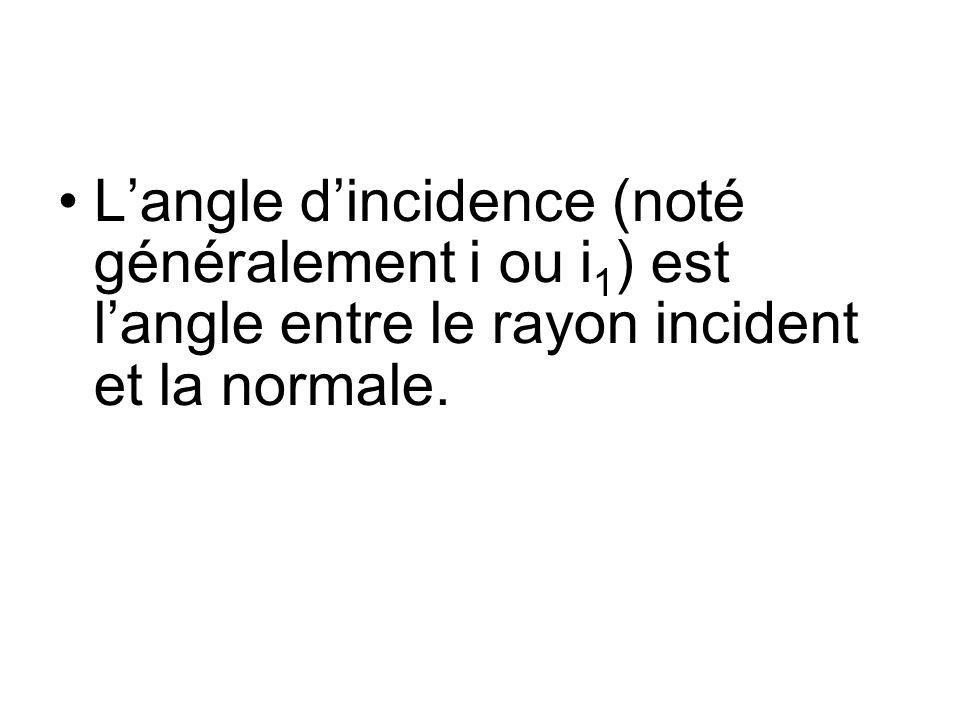 Langle dincidence (noté généralement i ou i 1 ) est langle entre le rayon incident et la normale.
