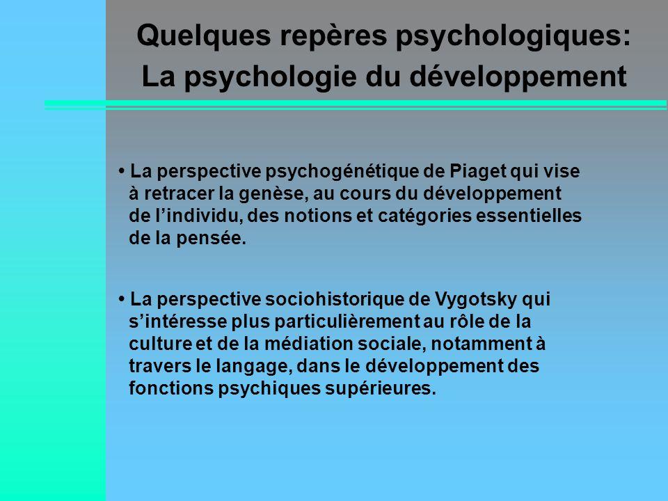 La perspective psychogénétique de Piaget qui vise à retracer la genèse, au cours du développement de lindividu, des notions et catégories essentielles