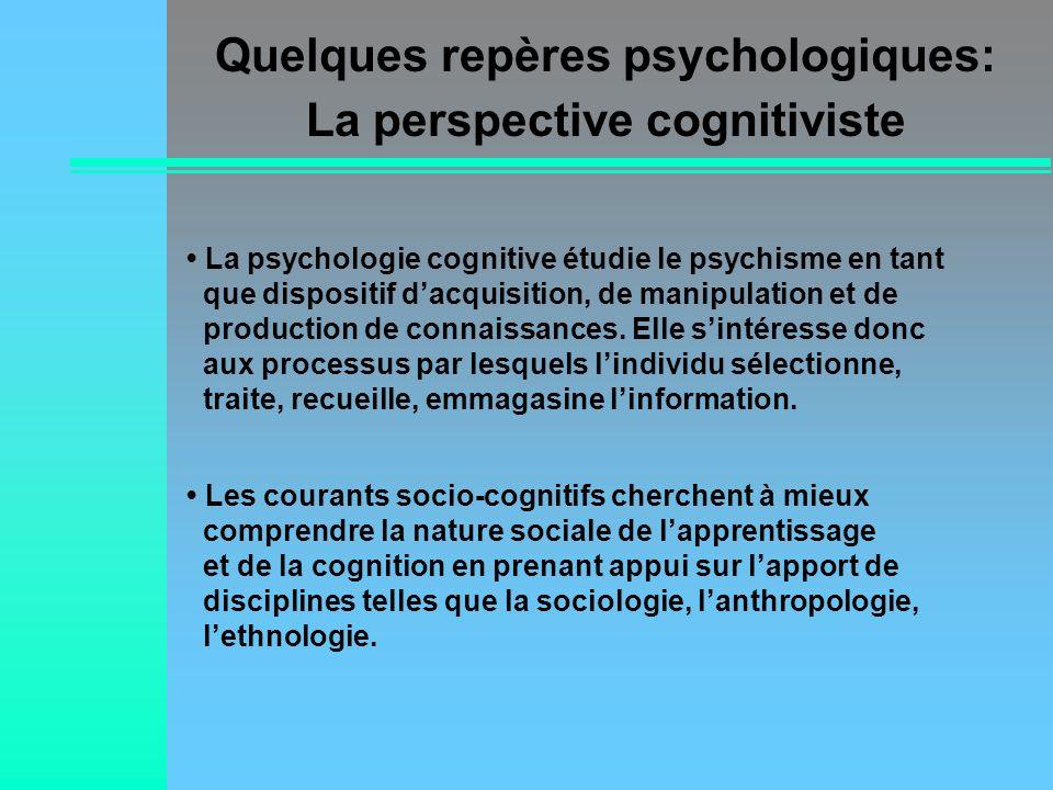 La psychologie cognitive étudie le psychisme en tant que dispositif dacquisition, de manipulation et de production de connaissances. Elle sintéresse d