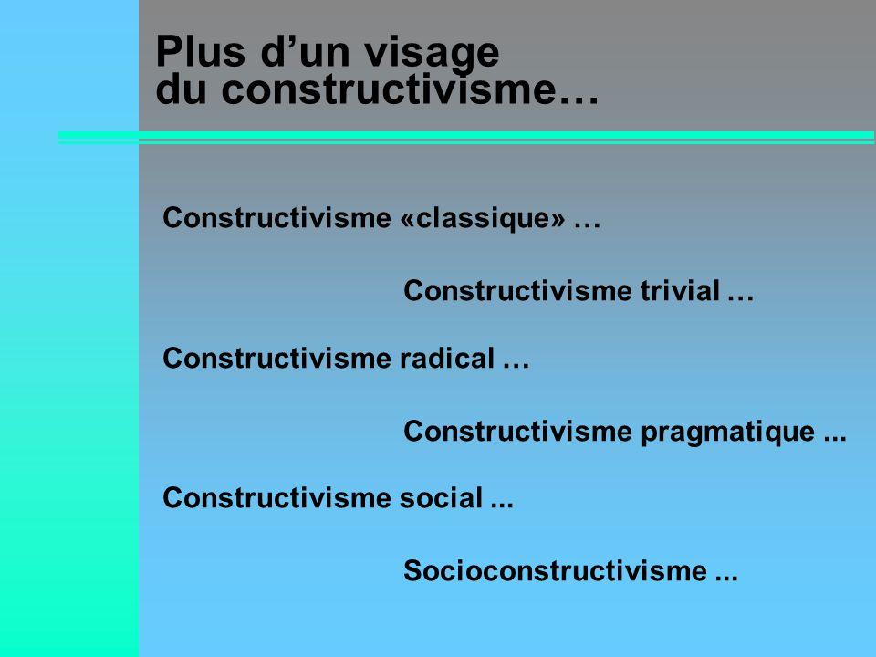 Plus dun visage du constructivisme… Constructivisme «classique» … Constructivisme radical … Constructivisme social... Constructivisme trivial … Constr