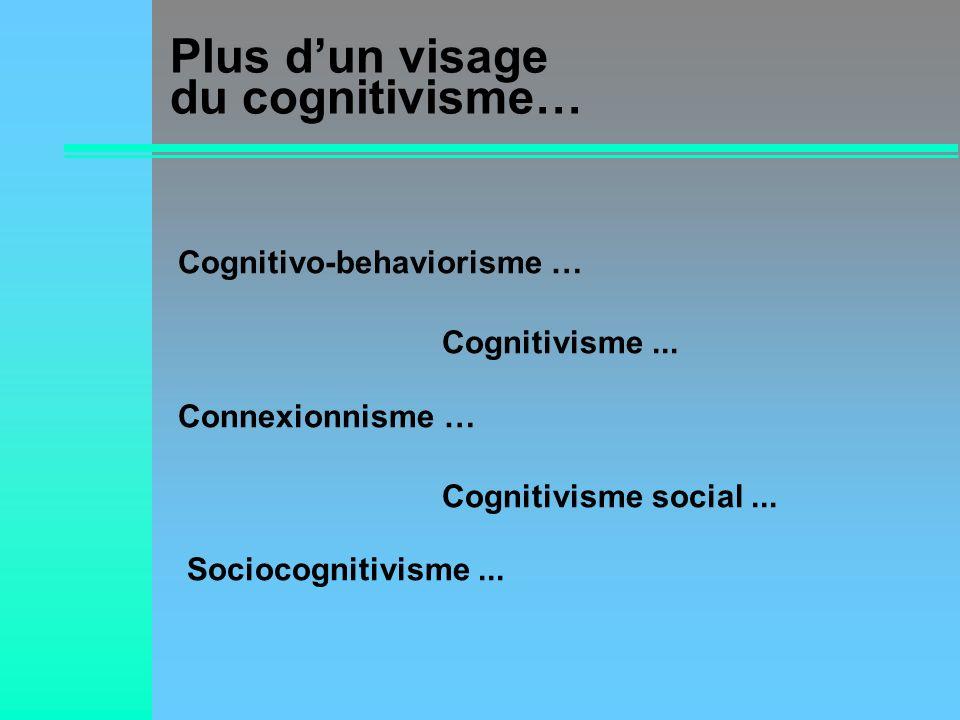 Cognitivo-behaviorisme … Connexionnisme … Sociocognitivisme... Cognitivisme... Cognitivisme social... Plus dun visage du cognitivisme…
