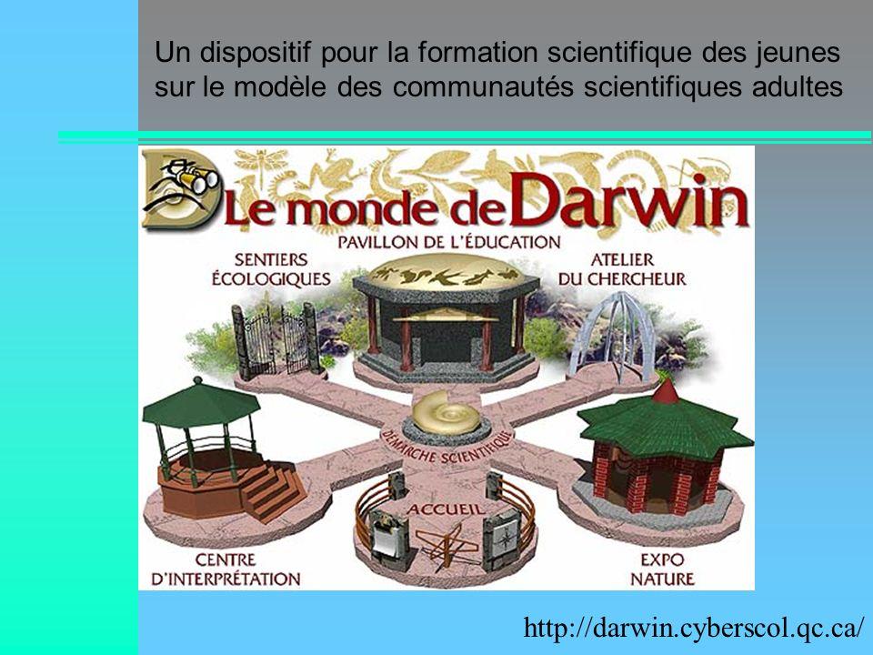 Un dispositif pour la formation scientifique des jeunes sur le modèle des communautés scientifiques adultes http://darwin.cyberscol.qc.ca/