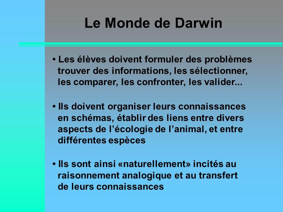 Le Monde de Darwin Ils sont ainsi «naturellement» incités au raisonnement analogique et au transfert de leurs connaissances Les élèves doivent formule