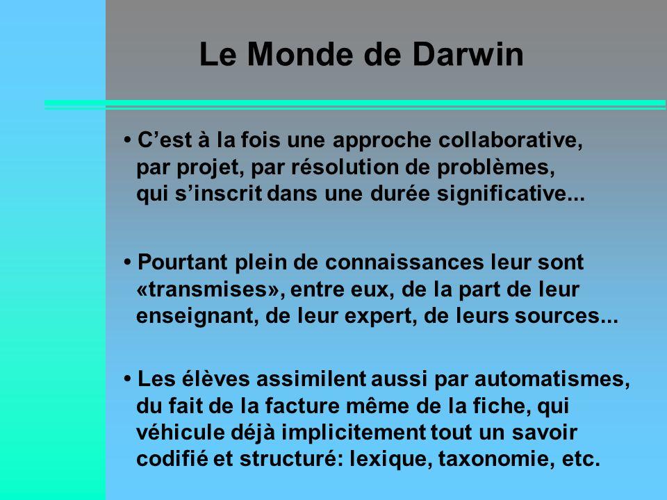 Le Monde de Darwin Les élèves assimilent aussi par automatismes, du fait de la facture même de la fiche, qui véhicule déjà implicitement tout un savoi