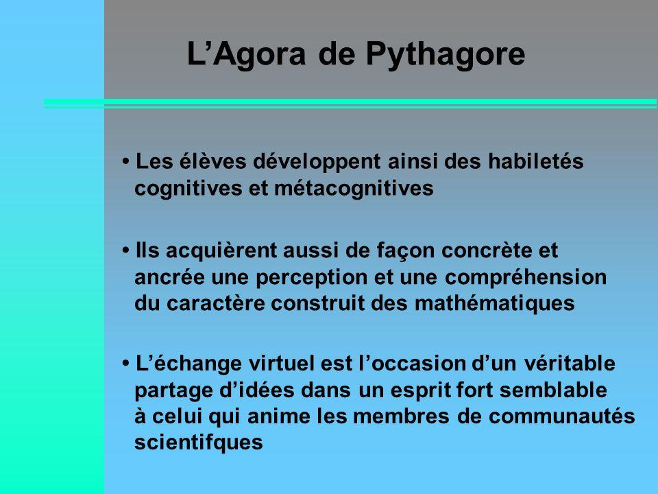 LAgora de Pythagore Léchange virtuel est loccasion dun véritable partage didées dans un esprit fort semblable à celui qui anime les membres de communa