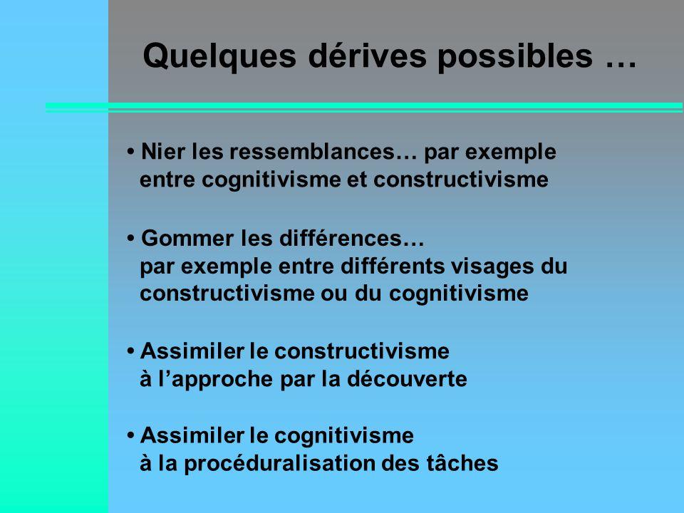 Quelques dérives possibles … Nier les ressemblances… par exemple entre cognitivisme et constructivisme Gommer les différences… par exemple entre diffé
