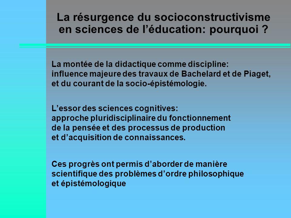 Quelques dérives possibles … Nier les ressemblances… par exemple entre cognitivisme et constructivisme Gommer les différences… par exemple entre différents visages du constructivisme ou du cognitivisme Assimiler le constructivisme à lapproche par la découverte Assimiler le cognitivisme à la procéduralisation des tâches