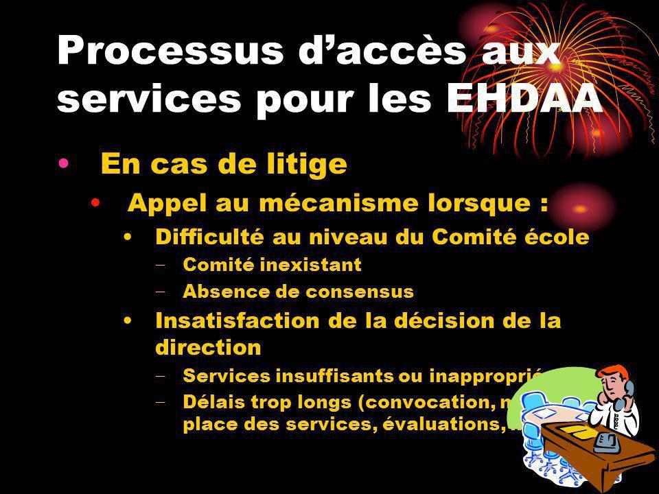 Processus daccès aux services pour les EHDAA En cas de litige Appel au mécanisme lorsque : Difficulté au niveau du Comité école Comité inexistant Abse