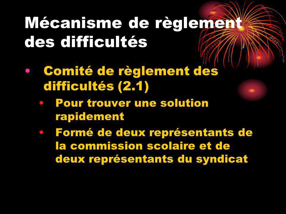 Mécanisme de règlement des difficultés Comité de règlement des difficultés (2.1) Pour trouver une solution rapidement Formé de deux représentants de l