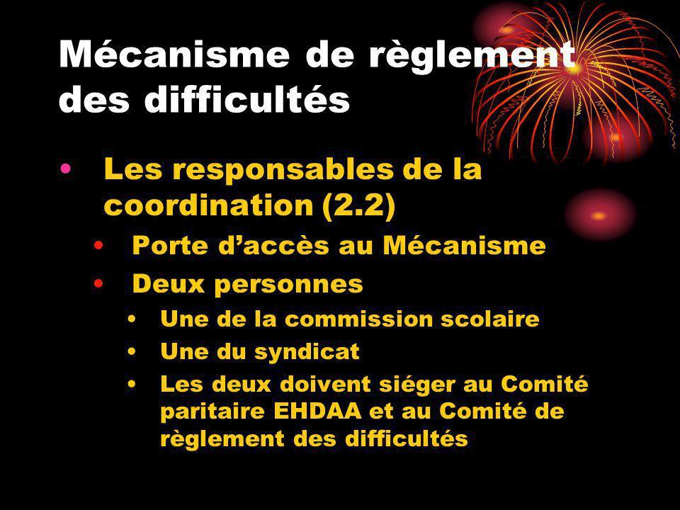 Mécanisme de règlement des difficultés Les responsables de la coordination (2.2) Porte daccès au Mécanisme Deux personnes Une de la commission scolair