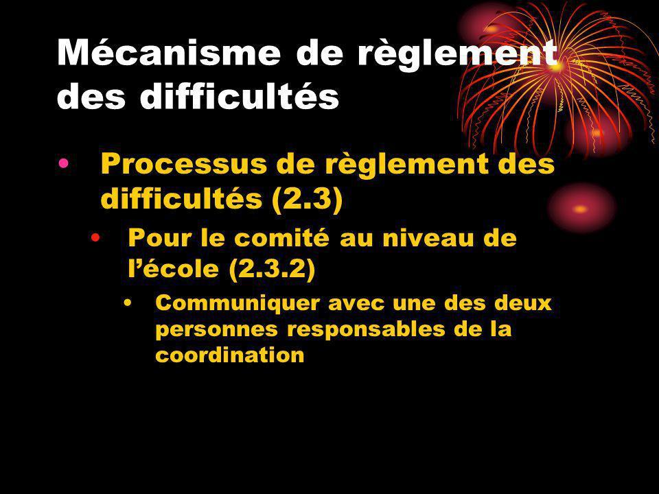Mécanisme de règlement des difficultés Processus de règlement des difficultés (2.3) Pour le comité au niveau de lécole (2.3.2) Communiquer avec une de