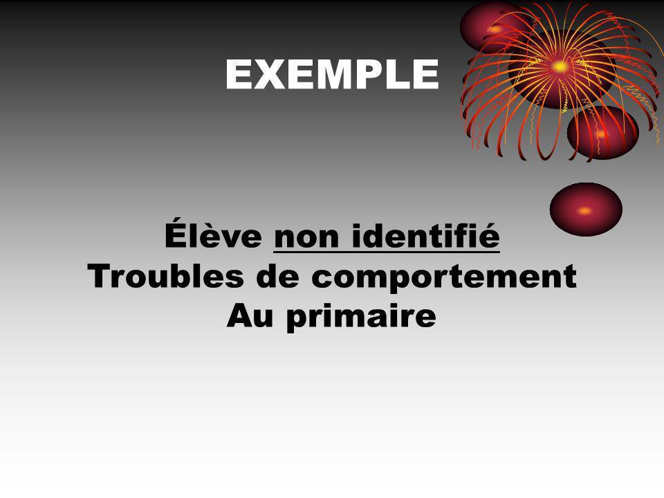 EXEMPLE Élève non identifié Troubles de comportement Au primaire