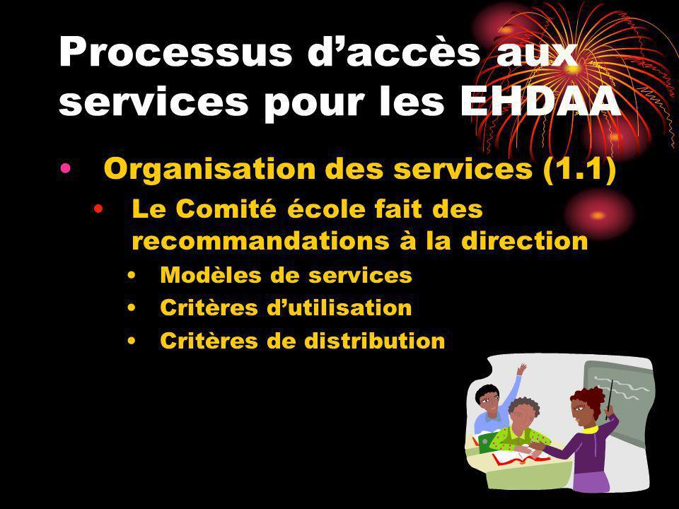 Processus daccès aux services pour les EHDAA Organisation des services (1.1) Le Comité école fait des recommandations à la direction Modèles de servic