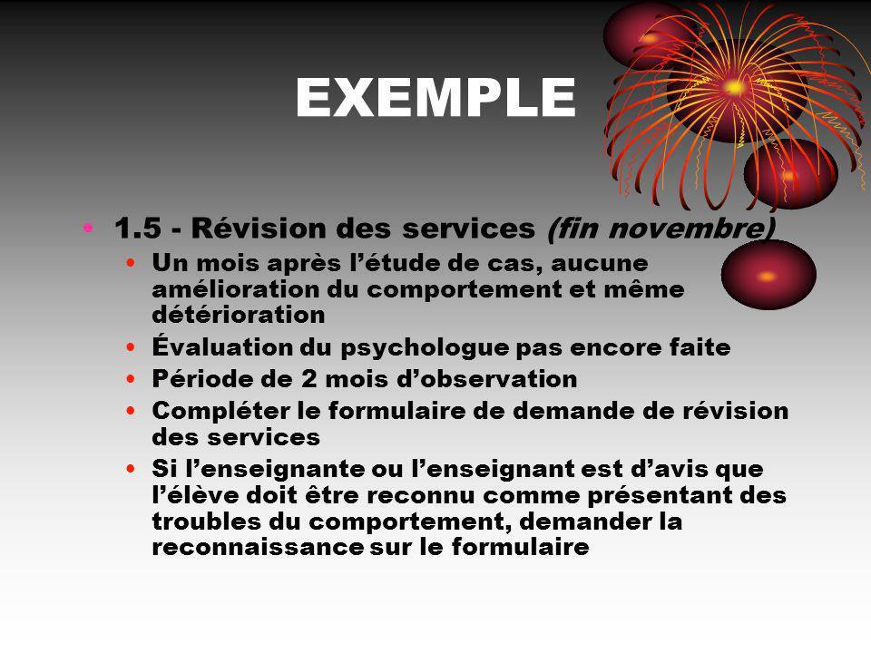 EXEMPLE 1.5 - Révision des services (fin novembre) Un mois après létude de cas, aucune amélioration du comportement et même détérioration Évaluation d