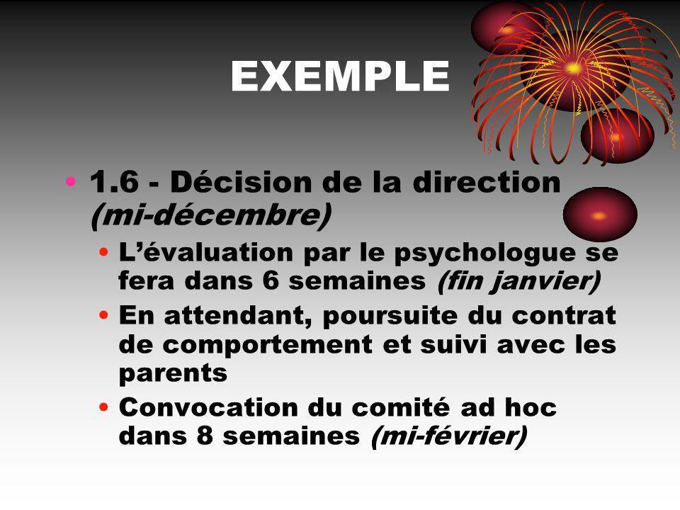 EXEMPLE 1.6 - Décision de la direction (mi-décembre) Lévaluation par le psychologue se fera dans 6 semaines (fin janvier) En attendant, poursuite du c