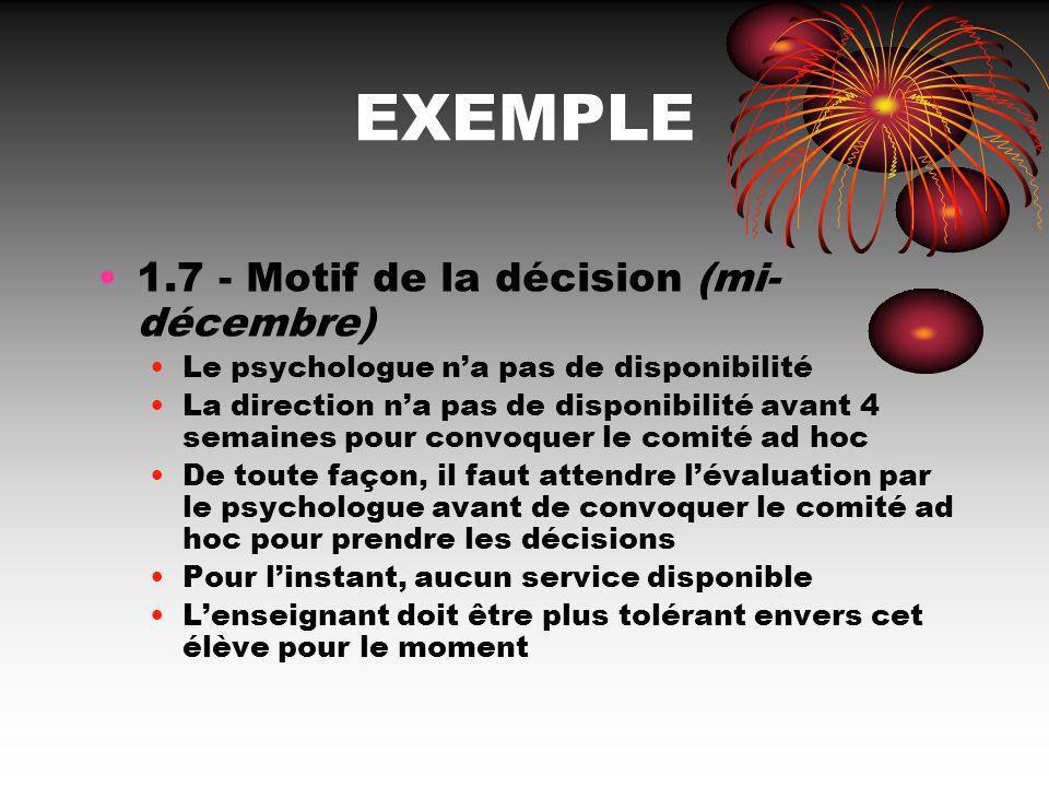 EXEMPLE 1.7 - Motif de la décision (mi- décembre) Le psychologue na pas de disponibilité La direction na pas de disponibilité avant 4 semaines pour co