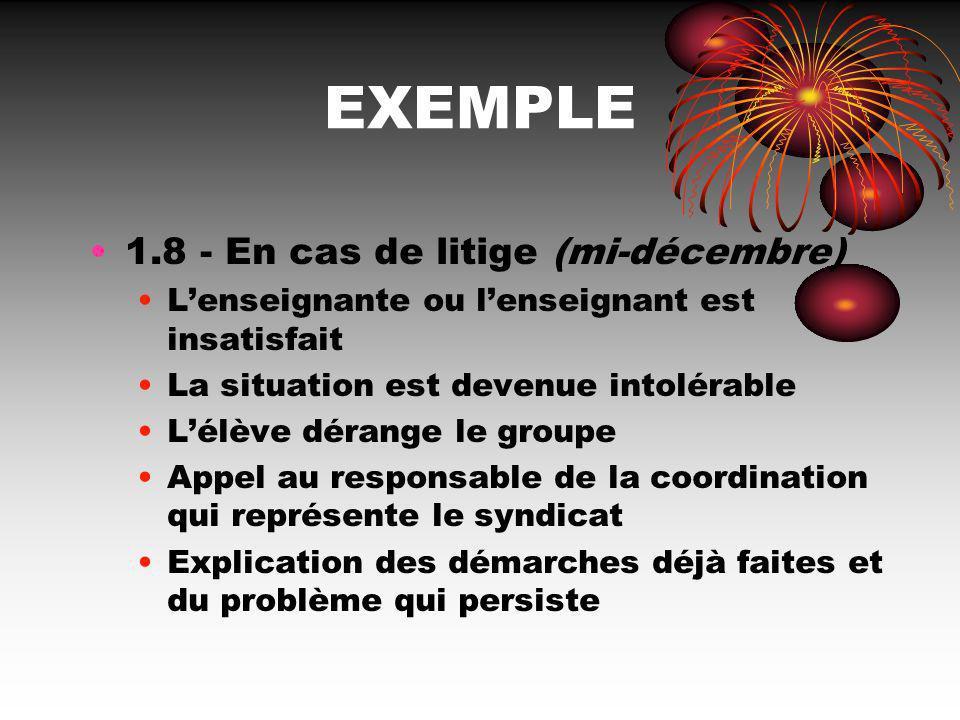 EXEMPLE 1.8 - En cas de litige (mi-décembre) Lenseignante ou lenseignant est insatisfait La situation est devenue intolérable Lélève dérange le groupe