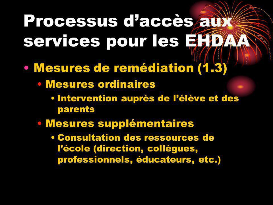 Processus daccès aux services pour les EHDAA Mesures de remédiation (1.3) Mesures ordinaires Intervention auprès de lélève et des parents Mesures supp
