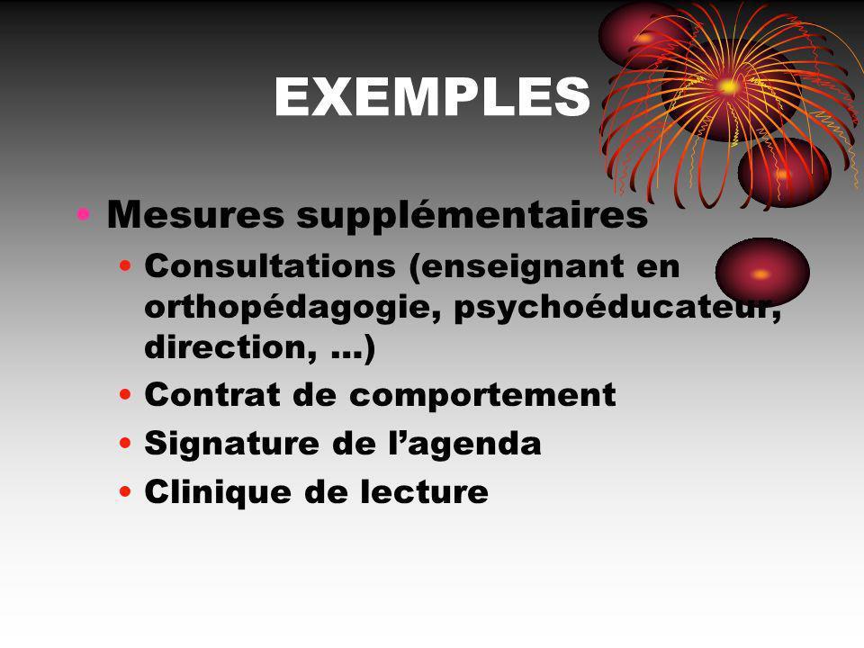 EXEMPLES Mesures supplémentaires Consultations (enseignant en orthopédagogie, psychoéducateur, direction, …) Contrat de comportement Signature de lage