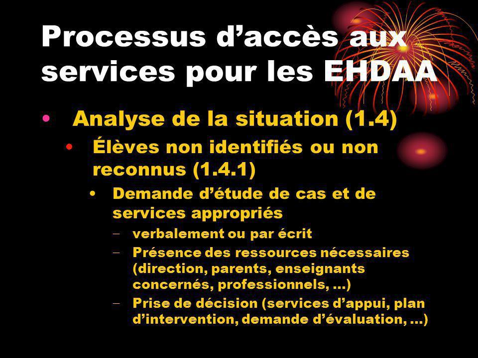 Processus daccès aux services pour les EHDAA Analyse de la situation (1.4) Élèves non identifiés ou non reconnus (1.4.1) Demande détude de cas et de s
