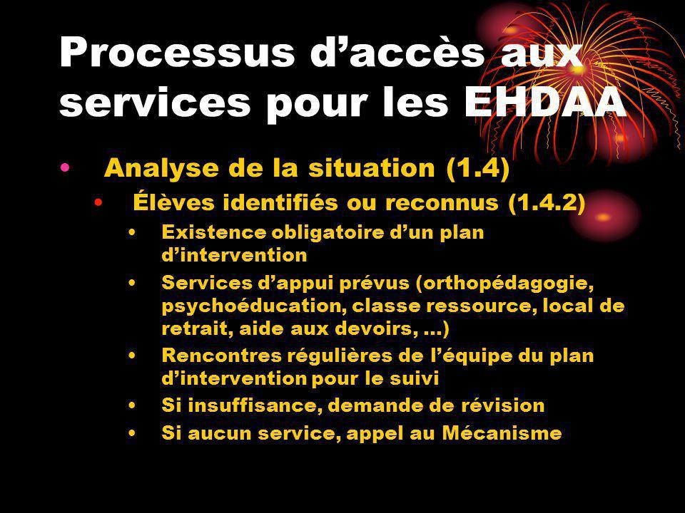 Processus daccès aux services pour les EHDAA Révision des services (1.5) À laide du formulaire de demande de révision Difficultés persistantes Service insuffisant Absence de services après analyse de la situation Demande de reconnaissance
