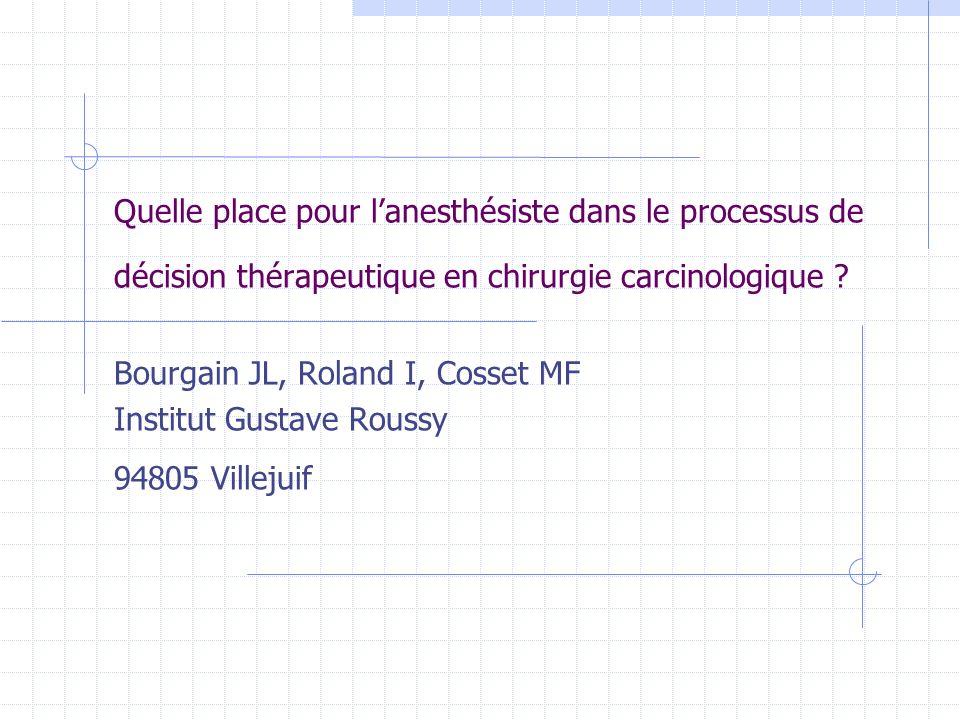 Quelle place pour lanesthésiste dans le processus de décision thérapeutique en chirurgie carcinologique ? Bourgain JL, Roland I, Cosset MF Institut Gu