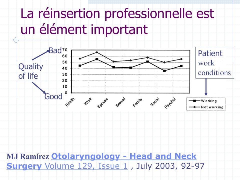 La réinsertion professionnelle est un élément important MJ Ramírez Otolaryngology - Head and Neck Surgery Volume 129, Issue 1, July 2003, 92-97 Otolar