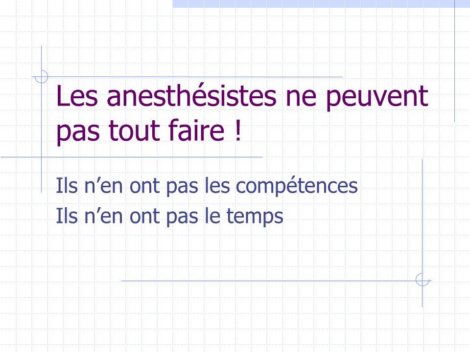 Les anesthésistes ne peuvent pas tout faire ! Ils nen ont pas les compétences Ils nen ont pas le temps