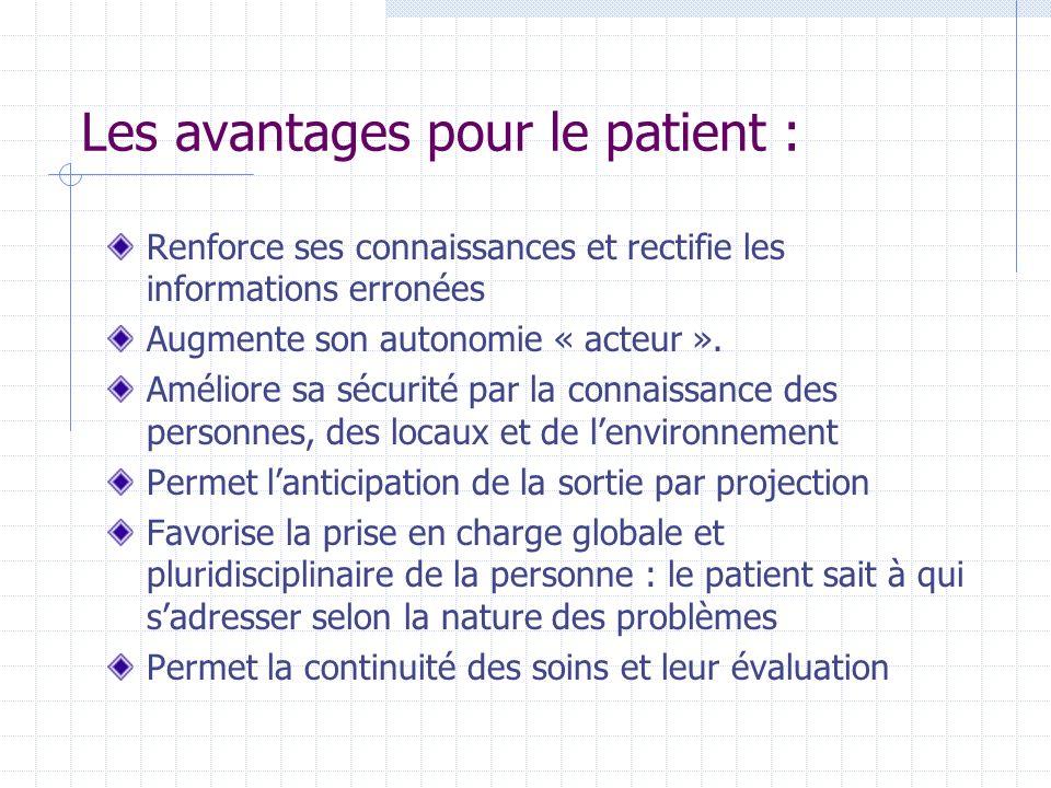 Les avantages pour le patient : Renforce ses connaissances et rectifie les informations erronées Augmente son autonomie « acteur ». Améliore sa sécuri