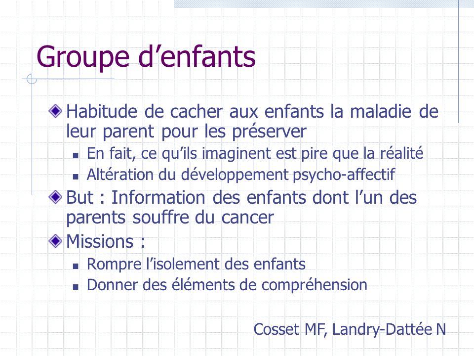 Groupe denfants Habitude de cacher aux enfants la maladie de leur parent pour les préserver En fait, ce quils imaginent est pire que la réalité Altéra