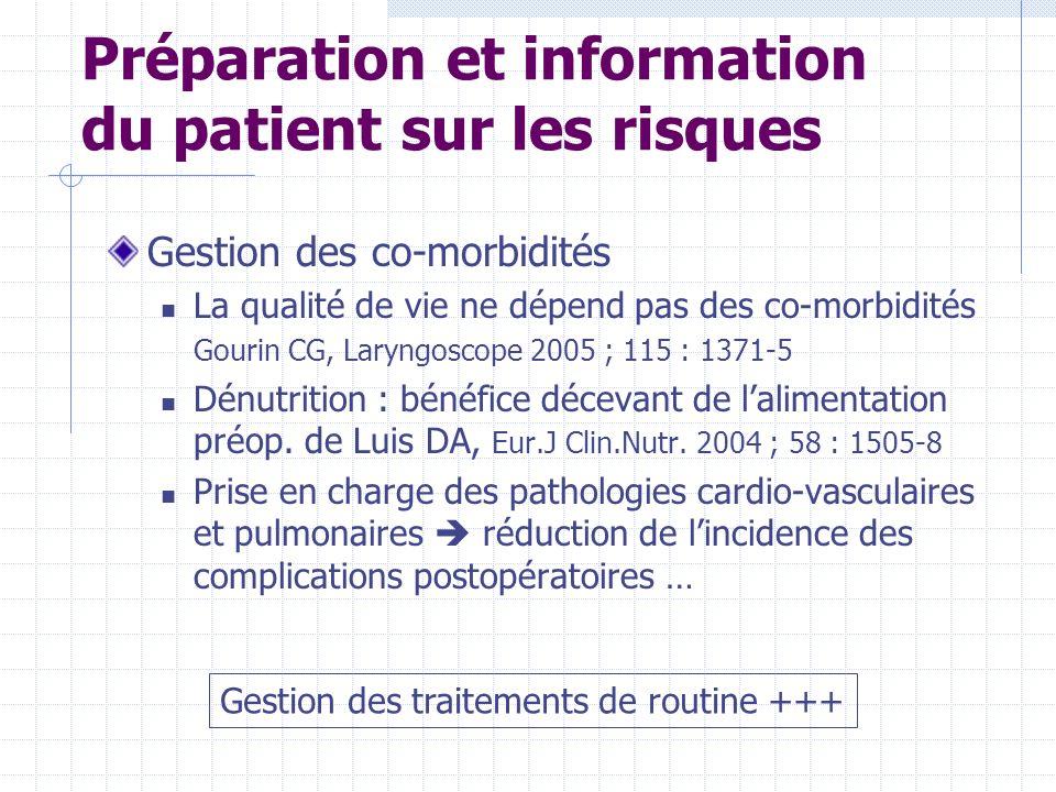 Préparation et information du patient sur les risques Gestion des co-morbidités La qualité de vie ne dépend pas des co-morbidités Gourin CG, Laryngosc
