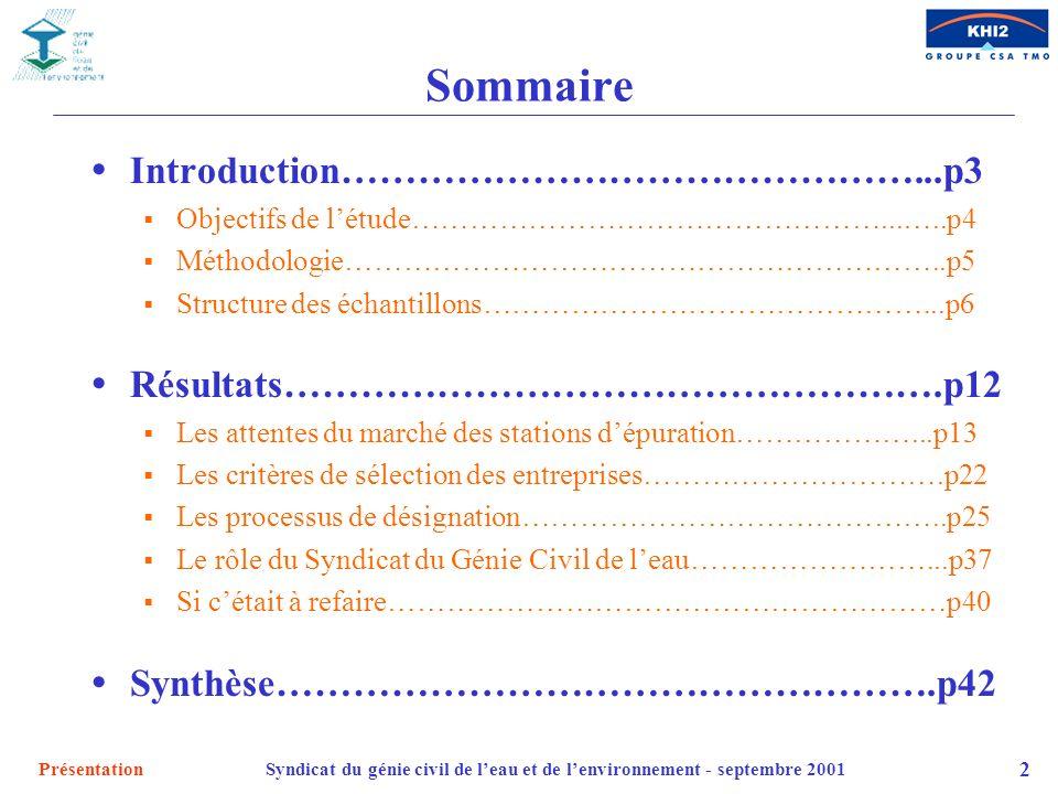 PrésentationSyndicat du génie civil de leau et de lenvironnement - septembre 2001 2 Sommaire Introduction………………………………………...p3 Objectifs de létude……………