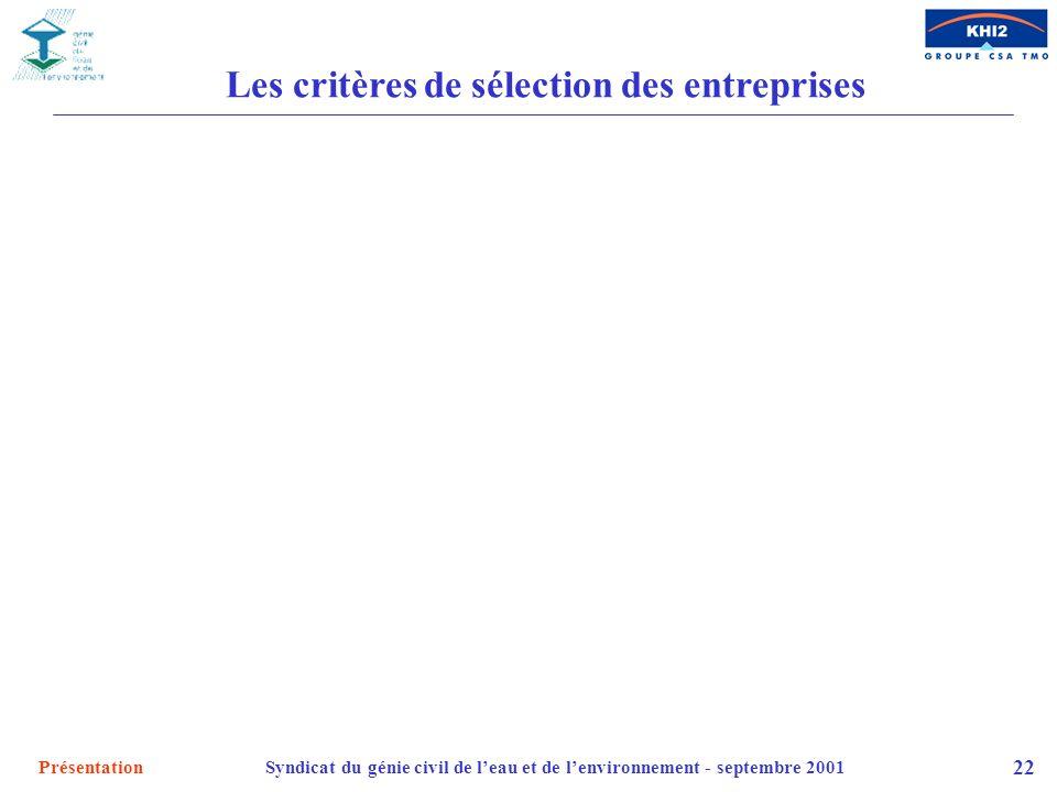 PrésentationSyndicat du génie civil de leau et de lenvironnement - septembre 2001 22 Les critères de sélection des entreprises