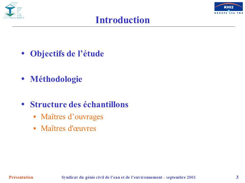 PrésentationSyndicat du génie civil de leau et de lenvironnement - septembre 2001 3 Introduction Objectifs de létude Méthodologie Structure des échant