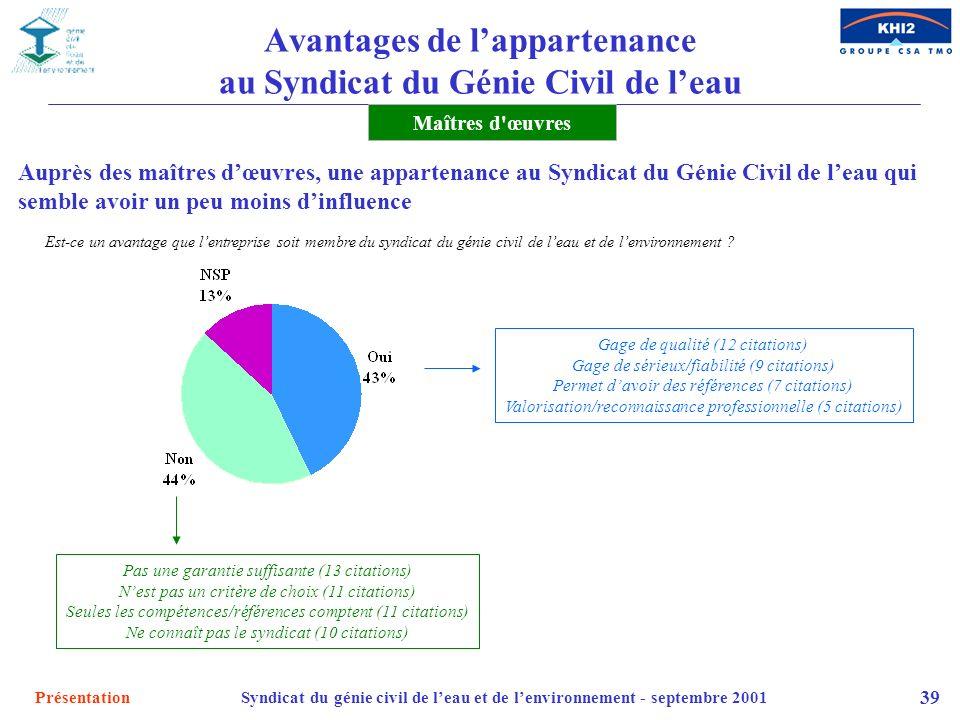PrésentationSyndicat du génie civil de leau et de lenvironnement - septembre 2001 39 Maîtres d'œuvres Gage de qualité (12 citations) Gage de sérieux/f