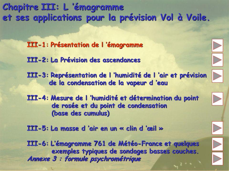 Chapitre III: L émagramme et ses applications pour la prévision Vol à Voile. III-1: Présentation de l émagramme III-2: La Prévision des ascendances II