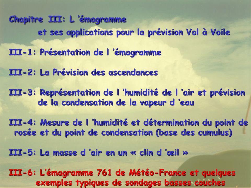 Chapitre III: L émagramme et ses applications pour la prévision Vol à Voile et ses applications pour la prévision Vol à Voile III-1: Présentation de l