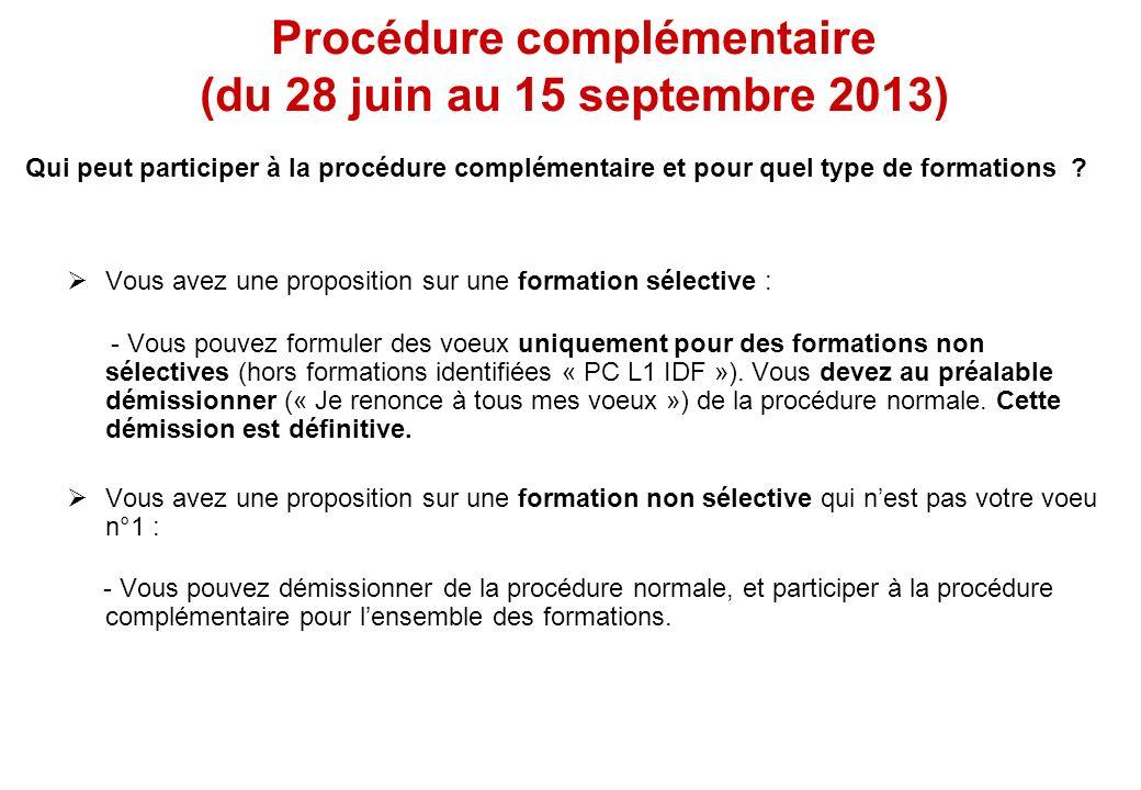 Vous avez une proposition sur une formation sélective : - Vous pouvez formuler des voeux uniquement pour des formations non sélectives (hors formation