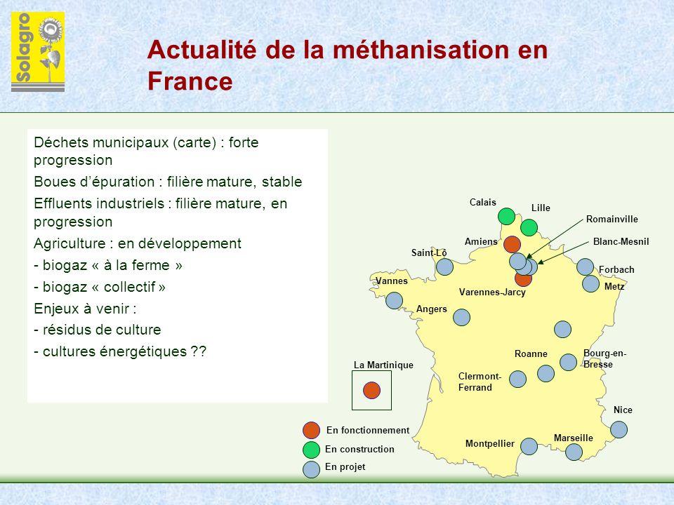 Actualité de la méthanisation en France En fonctionnement En construction En projet Calais Lille Forbach Metz Saint-Lô Angers Clermont- Ferrand Montpe