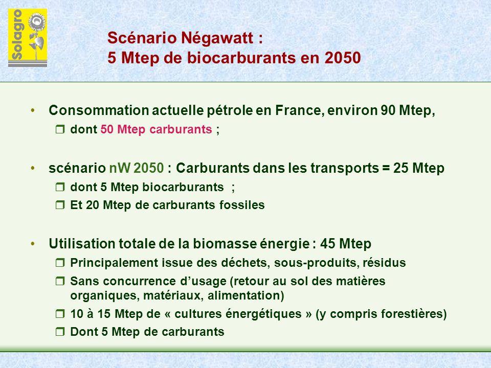 Scénario Négawatt : 5 Mtep de biocarburants en 2050 Consommation actuelle pétrole en France, environ 90 Mtep, dont 50 Mtep carburants ; scénario nW 2050 : Carburants dans les transports = 25 Mtep dont 5 Mtep biocarburants ; Et 20 Mtep de carburants fossiles Utilisation totale de la biomasse énergie : 45 Mtep Principalement issue des déchets, sous-produits, résidus Sans concurrence dusage (retour au sol des matières organiques, matériaux, alimentation) 10 à 15 Mtep de « cultures énergétiques » (y compris forestières) Dont 5 Mtep de carburants