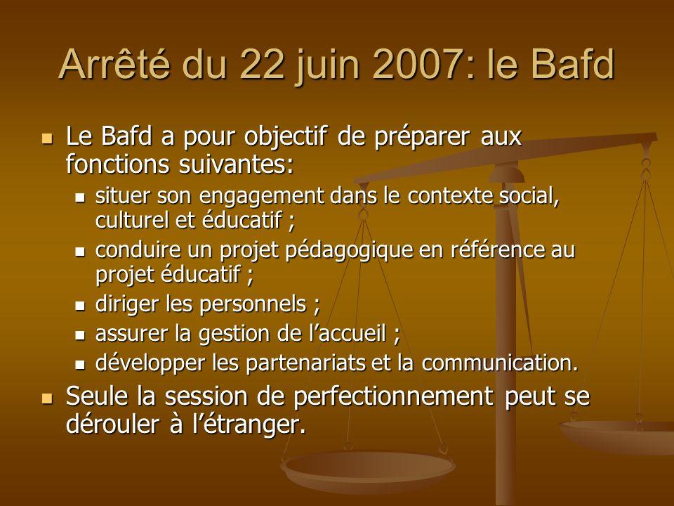 Arrêté du 22 juin 2007: le Bafd Le Bafd a pour objectif de préparer aux fonctions suivantes: Le Bafd a pour objectif de préparer aux fonctions suivant