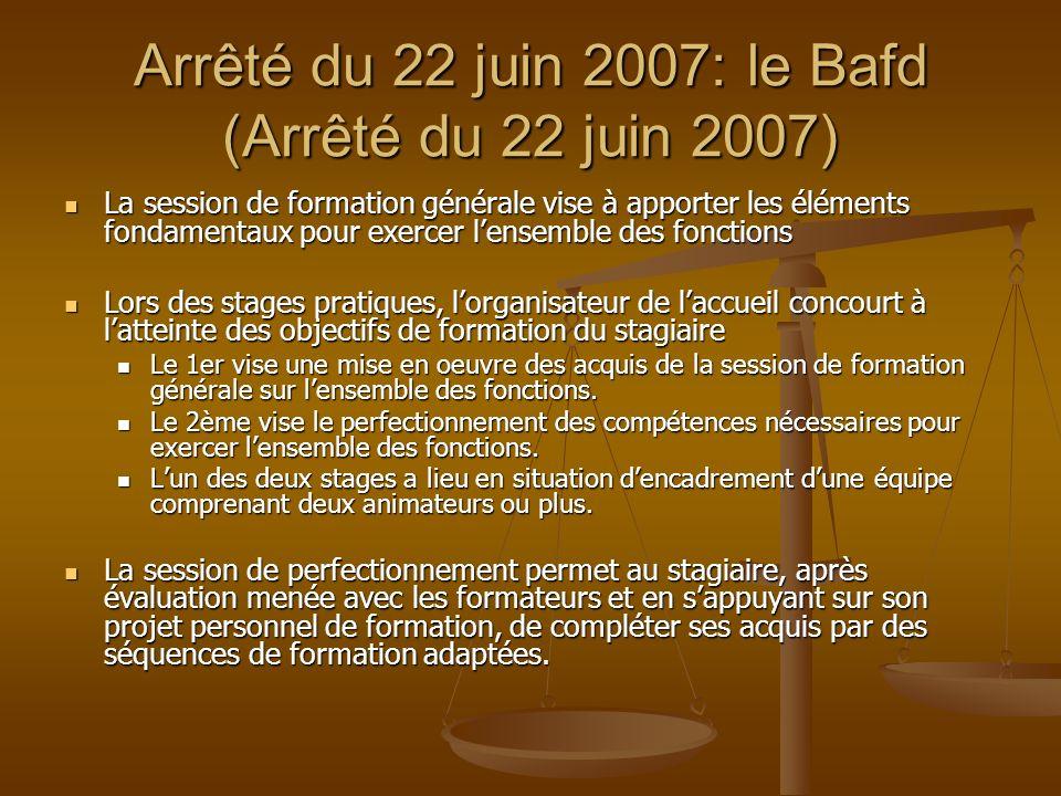 Arrêté du 22 juin 2007: le Bafd (Arrêté du 22 juin 2007) La session de formation générale vise à apporter les éléments fondamentaux pour exercer lense