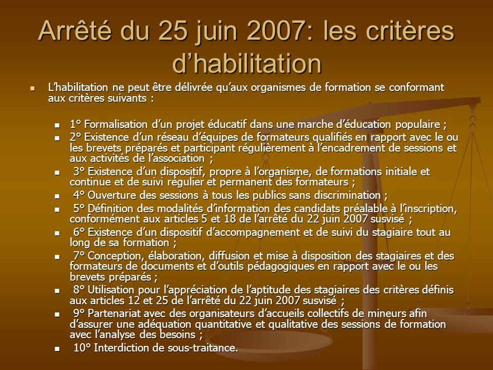 Arrêté du 25 juin 2007: les critères dhabilitation Lhabilitation ne peut être délivrée quaux organismes de formation se conformant aux critères suivan